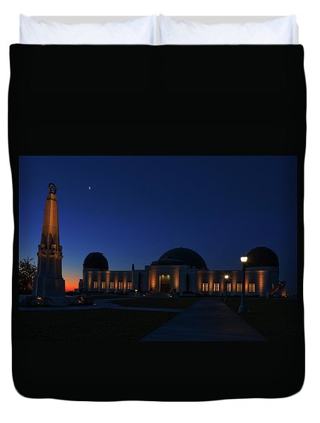 Duvet Cover featuring the photograph Griffith Observatory And Crescent Moon At Blue Hour by Ram Vasudev