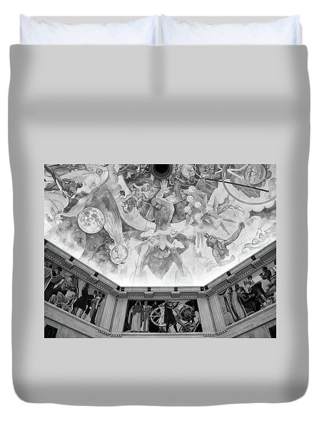 Duvet Cover featuring the photograph Griffith Observatory Ceiling Art - Black And White Rendition by Ram Vasudev