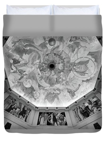 Duvet Cover featuring the photograph Griffith Observatory Rotunda Art - Black And White Rendition by Ram Vasudev