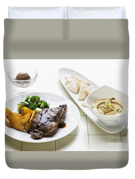 Grilled Steak Meal With Hummus Dip Starter Duvet Cover