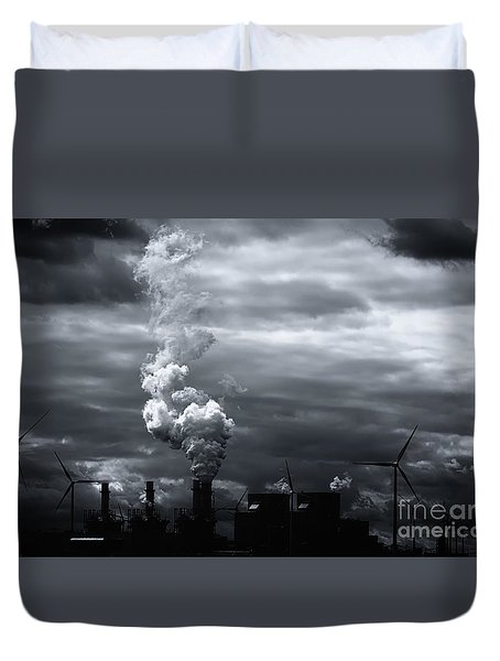 Grim Black White Energy Landscape Duvet Cover