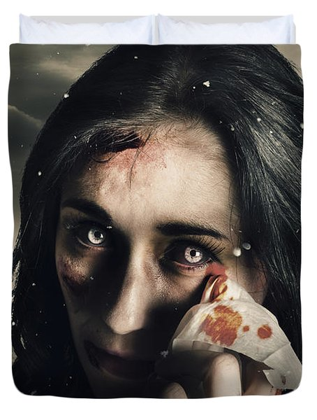 Grim Face Of Horror Crying Tears Of Blood Duvet Cover