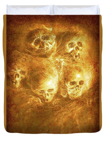 Grim Tales Of Burning Skulls Duvet Cover