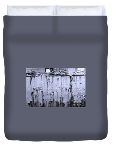 Duvet Cover featuring the photograph Grimy Old Ship Hull by Yali Shi
