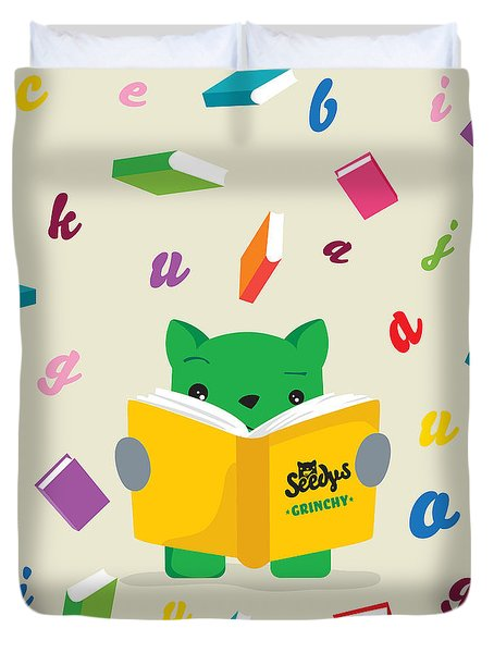 Grinchy And Books Duvet Cover by Seedys