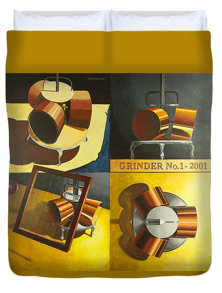 Duvet Cover featuring the painting Grinder 1 by Mark Howard Jones