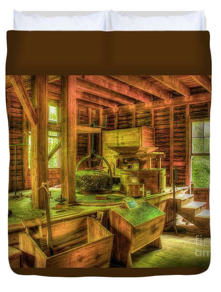 Duvet Cover featuring the photograph Grindingworks Mingus Mill Great Smoky Mountains Art by Reid Callaway