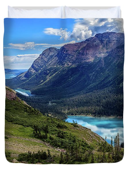 Grinell Hike In Glacier National Park Duvet Cover by Andres Leon