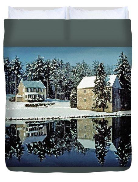 Grings Mill Snow 001 Duvet Cover by Scott McAllister