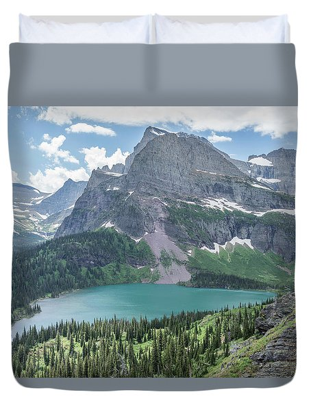 Grinnell Lake From Afar Duvet Cover by Alpha Wanderlust