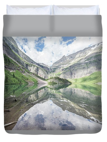 Grinnell Lake Mirrored Duvet Cover by Alpha Wanderlust