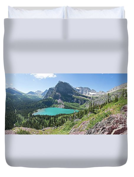Grinnell Lake Panoramic - Glacier National Park Duvet Cover