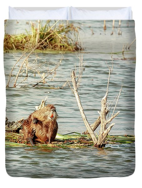 Duvet Cover featuring the photograph Grinning Nutria On Reeds by Robert Frederick