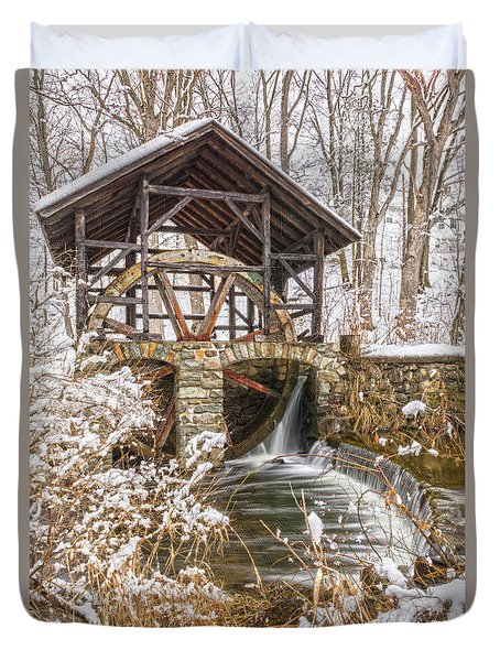 Grist Mill In Fresh Snow Duvet Cover
