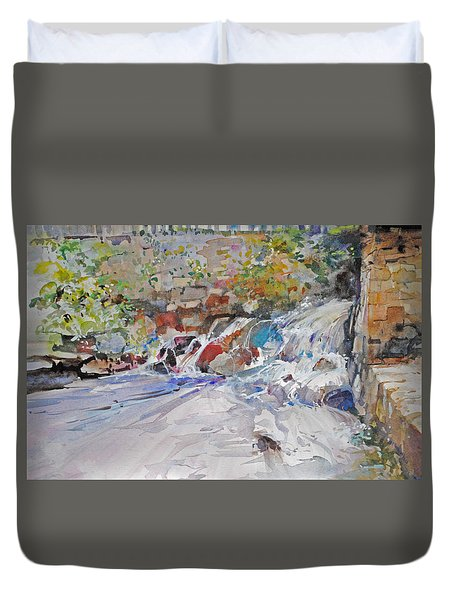 Grist Mill Spill Way Duvet Cover by P Anthony Visco