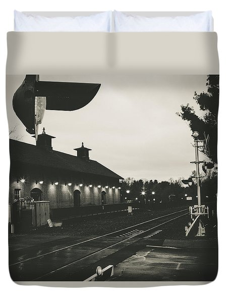 Gritty Railroad Crossing Duvet Cover