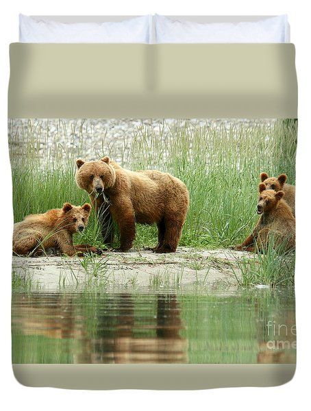 Duvet Cover featuring the photograph Grizzly Bear Family  by Myrna Bradshaw