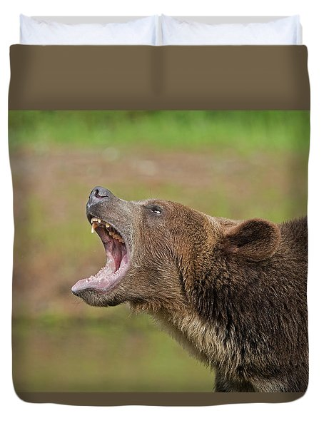 Grizzly Bear Growl Duvet Cover