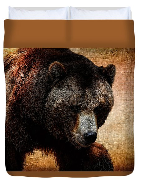 Grizzly Bear Duvet Cover by Judy Vincent