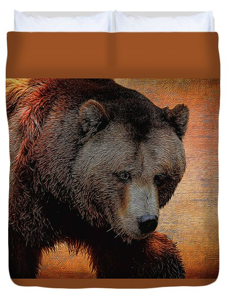 Grizzly Bear Painted Duvet Cover by Judy Vincent