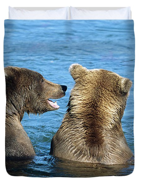 Grizzly Bear Talk Duvet Cover