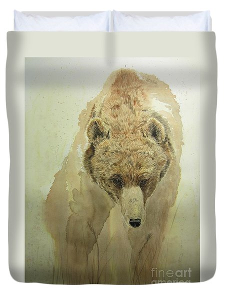 Duvet Cover featuring the painting Grizzly Bear1 by Laurianna Taylor