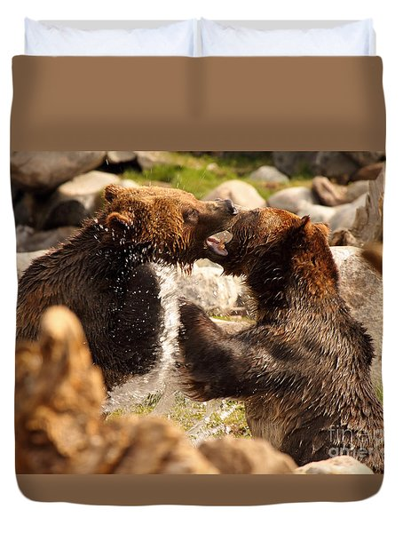 Duvet Cover featuring the photograph Grizzly Bears In A Battle Of Tooth And Claw by Max Allen