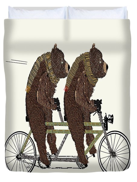 Duvet Cover featuring the painting Grizzly Bears Lets Tandem by Bri B