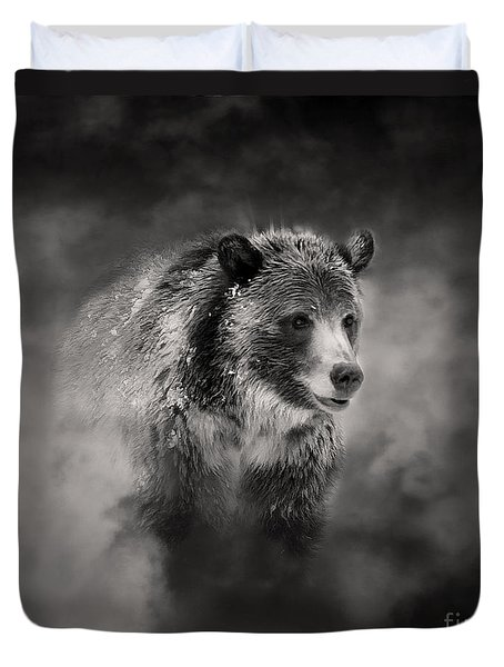 Grizzly Black And White In Clouds Duvet Cover