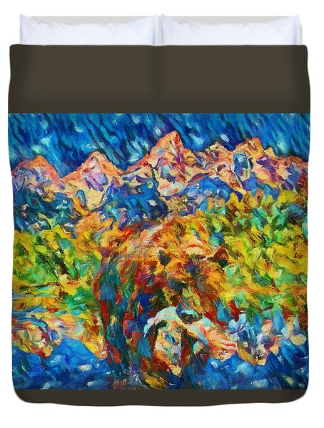 Duvet Cover featuring the painting Grizzly Catch In The Tetons by Dan Sproul