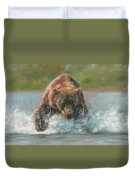 Duvet Cover featuring the painting Grizzly Charge by David Stribbling