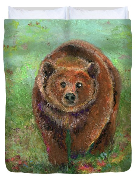 Grizzly In The Meadow Duvet Cover