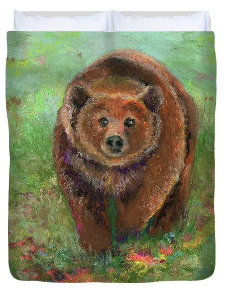 Duvet Cover featuring the pastel Grizzly In The Meadow by Lauren Heller