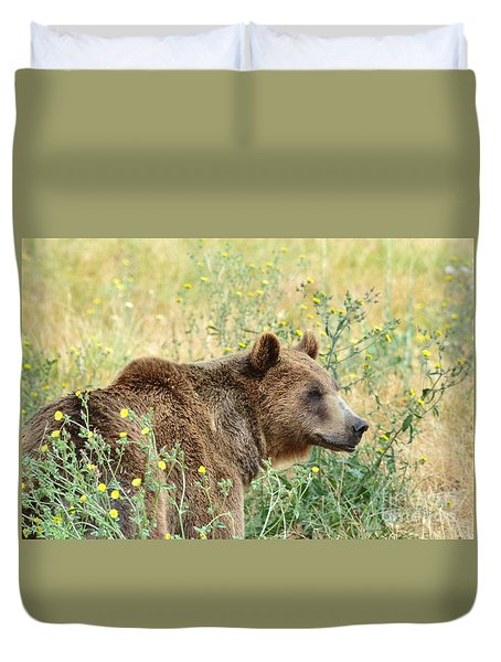 Duvet Cover featuring the photograph Grizzly by Laurianna Taylor