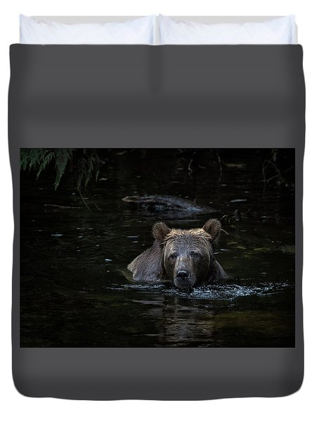 Grizzly Swimmer Duvet Cover