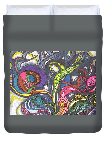 Duvet Cover featuring the painting Groovy Series by Chrisann Ellis