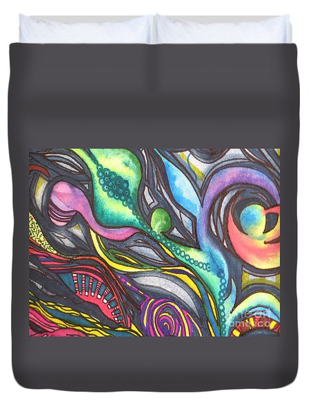 Duvet Cover featuring the painting Groovy Series Titled My Hippy Days  by Chrisann Ellis