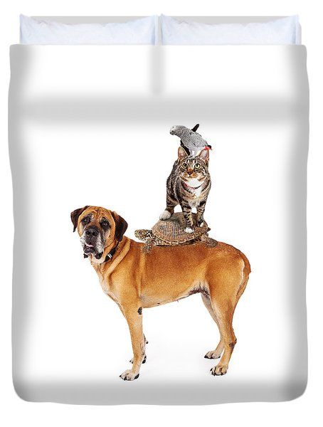 Grop Of Pets Stacked Up Duvet Cover