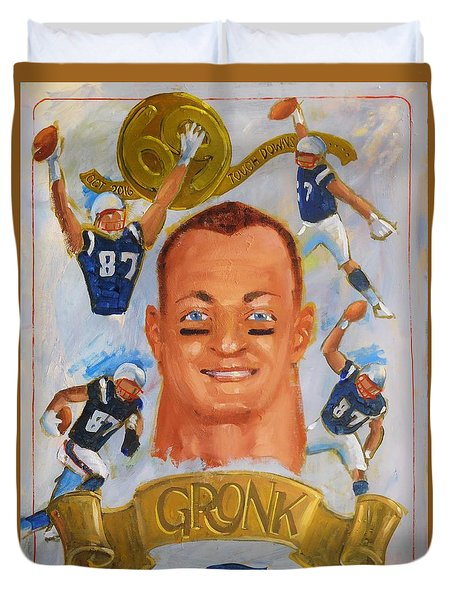 Duvet Cover featuring the painting Gronk by Len Stomski