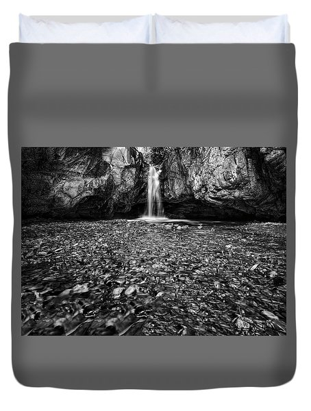 Grotto Falls In Black And White Duvet Cover