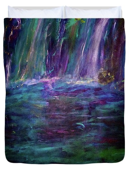Duvet Cover featuring the painting Grotto by Heidi Scott