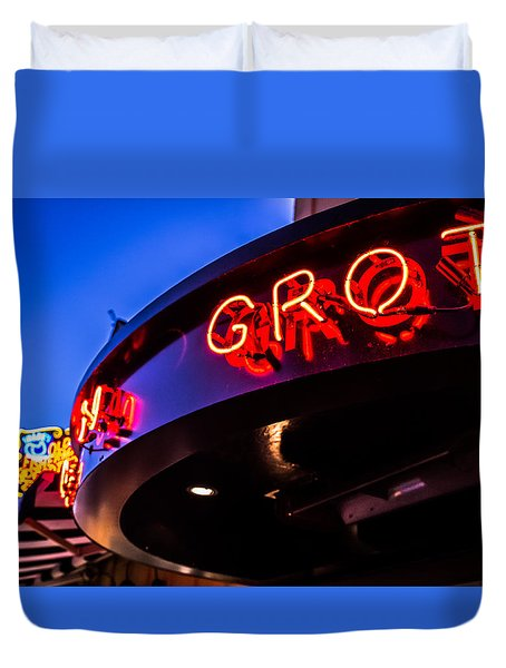 Duvet Cover featuring the photograph Grotto - Night View by Lora Lee Chapman
