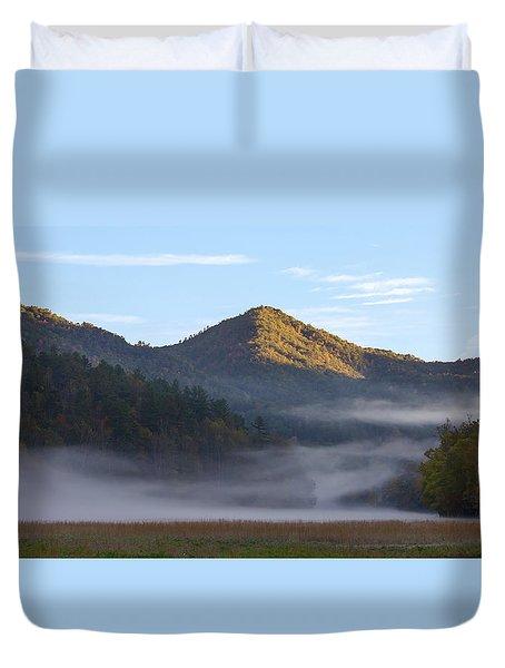 Ground Fog In Cataloochee Valley - October 12 2016 Duvet Cover