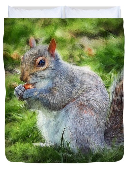 Duvet Cover featuring the photograph Ground Squirrel by Pennie  McCracken