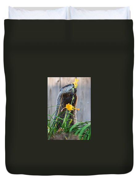 Groundhog And Flowers Duvet Cover by Edward Peterson
