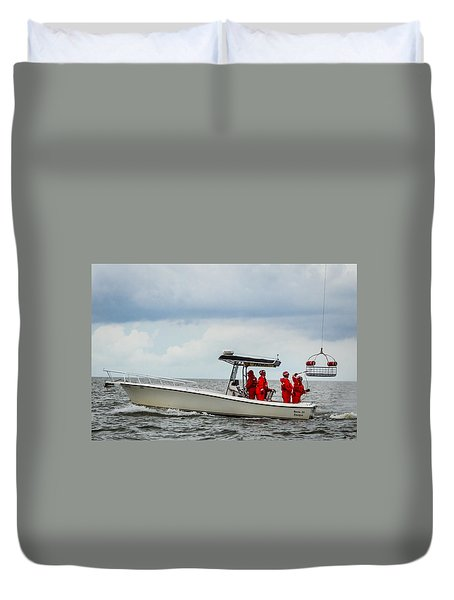 Duvet Cover featuring the photograph Grounding The Rescue Basket by Gregory Daley  PPSA
