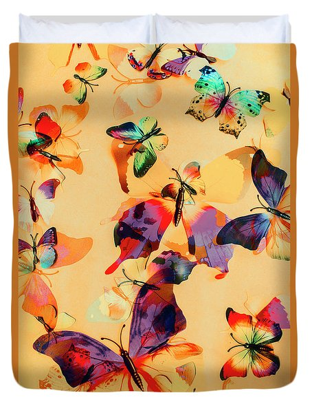 Group Of Butterflies With Colorful Wings Duvet Cover