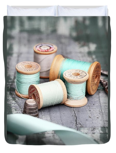 Group Of Vintage Sewing Notions Duvet Cover