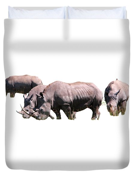 Group Of White Rhino Duvet Cover by Aidan Moran