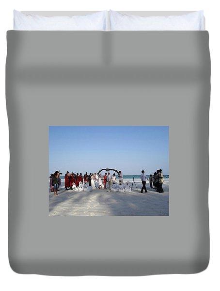 Group Wedding Photo Africa Beach Duvet Cover
